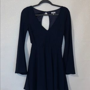 Navy Blue Open Back Cocktail Dress!
